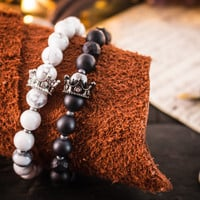 8mm - The King Collection - Set of 2 - Matte black onyx & lava stone and white howlite beaded stretchy bracelets with micro pave crown