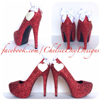Pomegranate Love Glitter High Heels