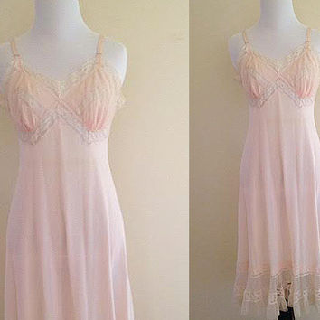 Vintage 1950s Pink Luxite by Holeproof Nightgown or Slip, Nylon and Lace, Size Small