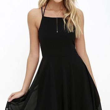 Lace Up Back Flare Dress