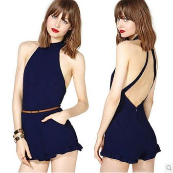 CROSS BACKLESS TALL WAIST JUMPSUITS BRIEF PARAGRAPH DARK BLUE BACK INVISIBLE ZIPPER