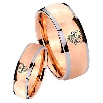 His Hers Rose Gold Dome Skull Marijuana Leaf Two Tone Tungsten Wedding Rings Set
