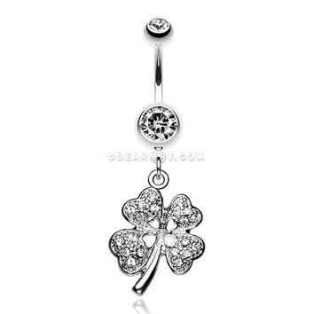 Classic Four Leaf Clover Sparkle Belly Ring (Clear)