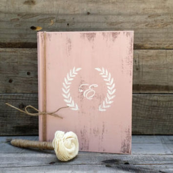 Personalized Blush Rustic Wedding Guest Book with Twine Wrapped Flower Pen, Bridal Wedding Gift, Distressed Guest Book, Wedding Advice Book