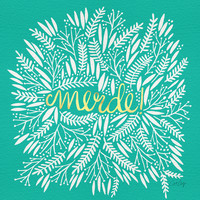 Pardon My French – Gold on Turquoise Art Print by Cat Coquillette