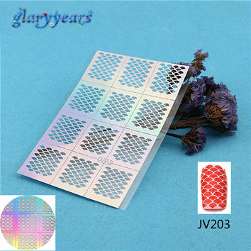 2016 1PC Nail Stencil Nail Sticker Ultra Thin Hollow DIY Pattern Fish Scale Manicure Nail Art Template Tools JV203 Decal Sticker