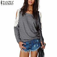 Zanzea Blusas 2016 Autumn Women Casual Sexy Lace Crochet Splice Off Shoulder Long Sleeve Tops Hoodies Sweatshirt  Plus Size