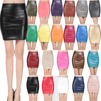 2016 Spring Autumn Fashion Women Skirts PU faux leather skirts tight stretch female short pencil mini skirt saias femininas