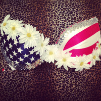 American Flag and White Daisy Bra Top for Raves Edc Festivals.