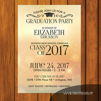Graduation Party Invitation / Gold Graduation Party Invitation / Open House Invitation / High school / College / Party Invitation