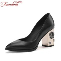 FACNDINLL shoes fashion soft leather women pumps pointed toe fretwork high heels platform dress red party wedding shoe plus size