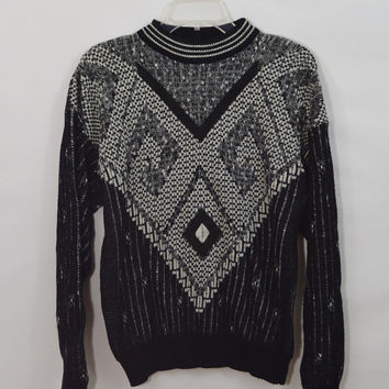 Soft Grunge Sweater Geometric MED Mens clothing Hipster 80s 90s Black White Suede Chunky Knit Unisex Womens Preppy Funky