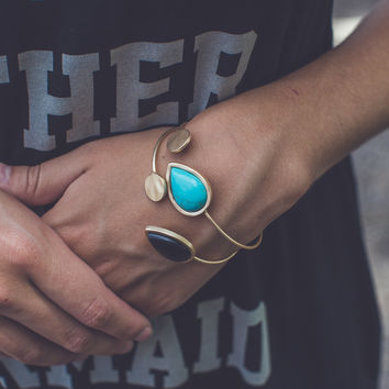 Cuff Bracelet in Gold and Teal