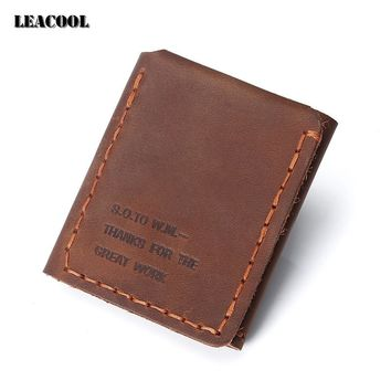 Leacool 2017 Original handmade Genuine Leather Vintage Wallet The Secret Life Of Walter Mitty Cowhide Leather Purse Wallet