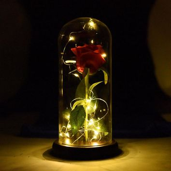 2018 WR Beauty And The Beast Red Rose in a Glass Dome On A Wooden Base for Valentine's Gifts Birthday Party Gift