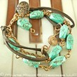 Turquoise leather and copper 3 strand bracelet with music clef.  1197 | MartieRocco - Jewelry on ArtFire