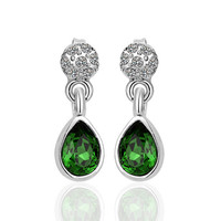 Green Swarovski Crystal White Gold Plated Earring