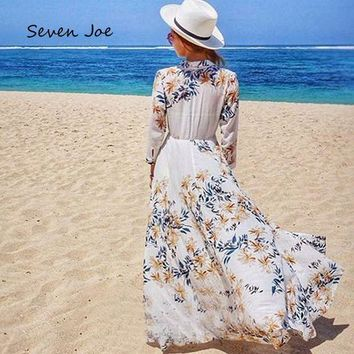DCCKL6D Seven Joe Beach Cover Up Swimsuit Cover Up Beach Towel Dress Swimsuit Skirt Loose large yards Chiffon Sunscreen Thin Cardigan