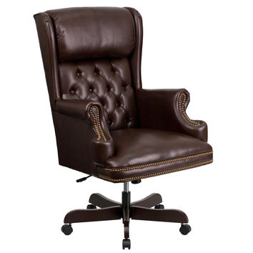 Flash Furniture High Back Traditional Tufted Brown Leather Executive Swivel Office Chair [CI-J600-BRN-GG]