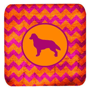Set of 4 Flat Coated Retriever Chevron Pink and Orange Foam Coasters
