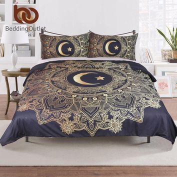 BeddingOutlet 3 Pcs Golden Mandala Flowers Star Moon Duvet Cover Black Dark Blue Bedding Set Soft Quilt Cover Single Bed Cover