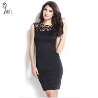 Lace Crochet Ladies Office Dress Sleeveless Elegant Bodycon Pencil Sheath