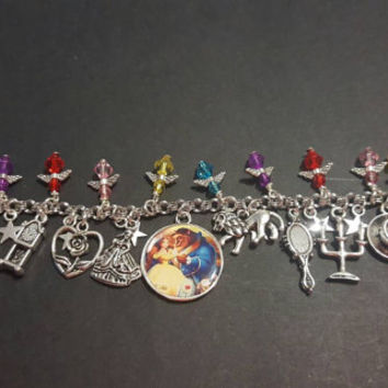 Disney beauty and the beast themed stainless steel charm bracelet