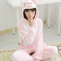 New Adults Flannel Pajamas Homewear Women Pijama Animal Suits Cosplay Cute Funny Cartoon Animal Pajama  pink pig pijama feminino