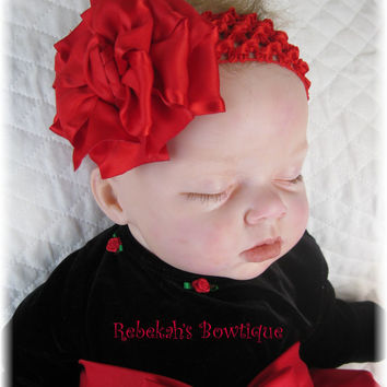 Valentines Day Christmas Red Double Ruffle Flower Hair Bow Headband accessories Clip newborn Infant Toddler Girls Unique