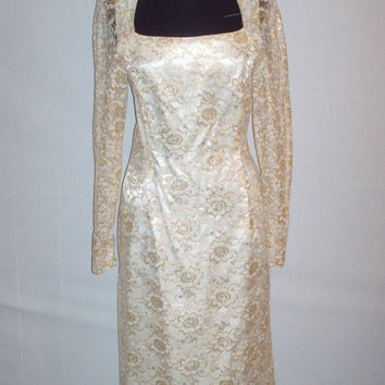 Vintage1960s Lace Dress Ivory and Gold