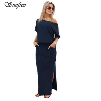Sunfree 2017 Women Summer Long Maxi BOHO Evening Party Dress with Pocket Brand New High quality Jan 3