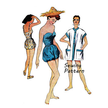 McCall's 9705 Woman's Beach Coat and Bathing Suit Swimsuit or Playsuit Sewing Pattern Vintage 1950's  Size 16 Bust 34in /86cm