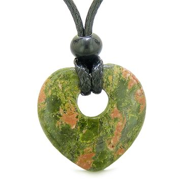 Amulet Lucky Heart Donut Shaped Charm Unakite Gemstone Pendant Spiritual and Healing Powers Necklace