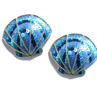 Blue Seashell Burlesque Pasties Nipple Tassels