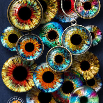 """Golden Rainbow Eyes Digital Collage Sheets - Glass Cabochon, Resin Pendant Images, 1.5"""", 1.25"""", 30mm, 1"""", 25mm - jewelry, doll making CG-980"""