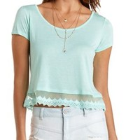 Lace-Trim Cropped Tee by Charlotte Russe