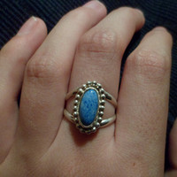 Authentic Navajo Native American Southwestern sterling silver denim lapis rings. Size can be adjusted.