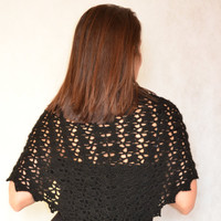 Crochet lace scarf, triangle lace shawl, Black evening shawl, Lace Crochet wrap, Flower broach included, Crochet Stole