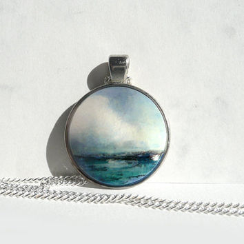 Ocean Pendant Necklace, Hand Painted Ocean Charm, Hand Painted Pendant, Art Bezel Necklace Blue Necklace, Original Jewelry  by Artdora
