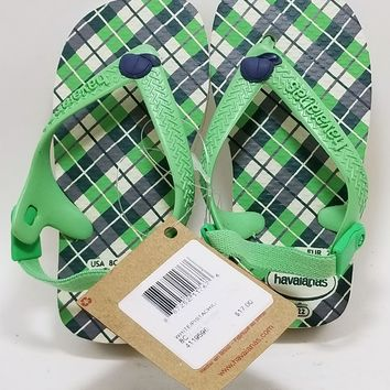 Havaianas Baby Chic Green Sandals Flip Flop with Back 4119596