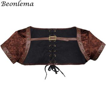 BEONLEMA Vintage Short Sleeves Corset Underbust Brown Goth Top Corpetes Tight Lacing Steampunk Women Plus Size Clothing XXXXXXL