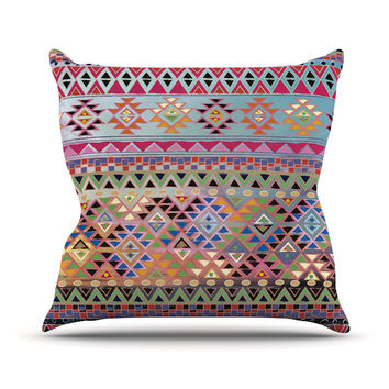 "Nika Martinez ""Tribal Native"" Red Pattern Throw Pillow, 16"" x 16"" - Outlet Item"
