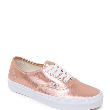 e64300cf4b Vans Authentic Leather Rose Sneakers - Womens Shoes - Rose Gold