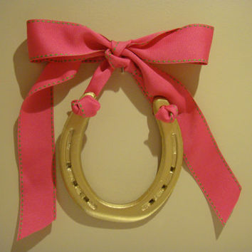 Gold Horseshoe-Hand Painted Gold with Hot Pink w Lime Green Stitched Grosgrain Ribbon Bow w Personalized Gift tag, horseshoe,lucky horseshoe