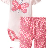Vitamins Baby Baby-Girls Newborn Big Butterfly 3 Piece Bodysuit Pant Set