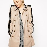 W118 by Walter Baker Ollie Faux Leather Trimmed Zip Detail Trench Coat Jacket XS