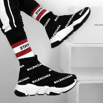 Balenciaga Kint Socks Running Shoes Black Sneakers