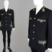 Vintage A/W 92 GIANNI VERSACE Mens Versace Jacket Fall 1992 Leather Trim Gold & Silver Studs Pure Wool Blazer 90s Designer Jacket Bondage