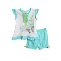 Absorba Toddler Girls (2t-4t) 2 pc butterfly top and turquoise shorts set $12.00