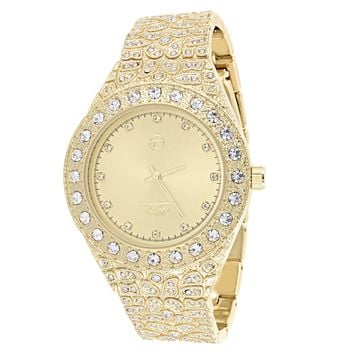 Men's Custom Solitaire Gold face Nugget Iced Out Band Watch